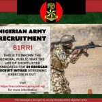 Released List of Nigerian Army Successful Candidates For 81 Regular Recruits Intake 2021